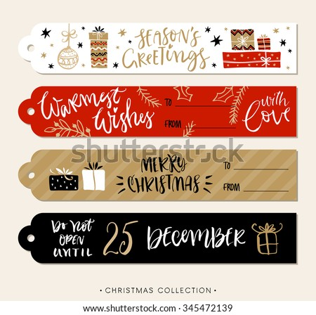 Christmas gift tags and labels with calligraphy. Handwritten modern brush lettering. Hand drawn design elements. - stock vector