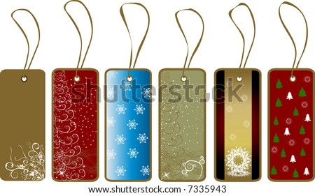 Christmas gift tags - floral snowflakes winter vector