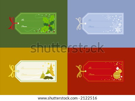 Christmas Gift Tags in Different Designs - Holly, Snowflakes, Christmas Trees & Ornaments - stock vector