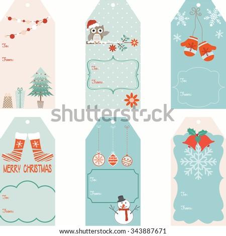 Christmas Gift Tags set - stock vector