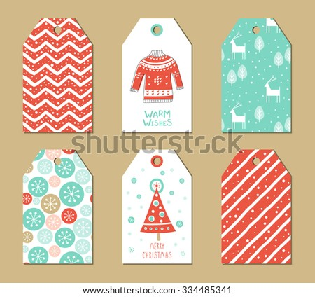 Christmas gift tags set. Vector illustration. Creative Hand Drawn textures for winter holidays. Pink and turquoise. - stock vector