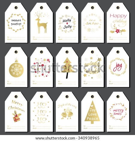Christmas gift tags, stickers and labels. Hand drawn design for winter holidays.  - stock vector