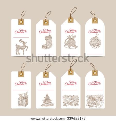 Christmas gift tags with hand drawn decorative elements  - stock vector