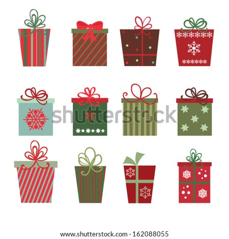 Christmas gifts A site of twelve Christmas gifts on white background - stock vector