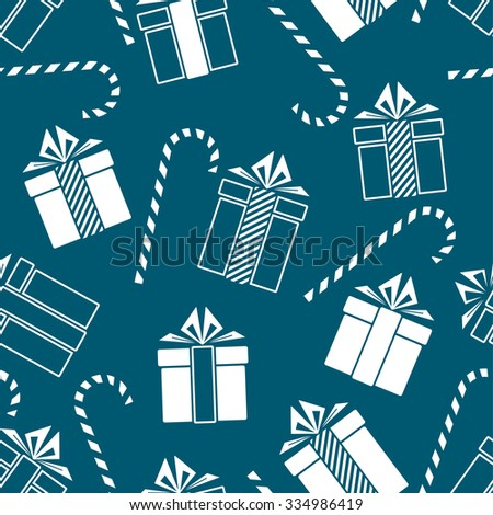 Christmas gifts and candy cane seamless pattern.  New Year concept. Vector Illustration