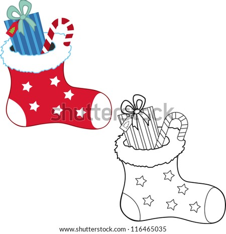 Christmas gifts. Coloring book. Vector illustration - stock vector