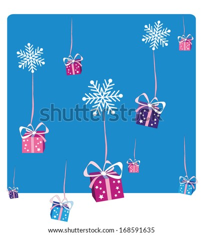 Christmas gifts falling - stock vector