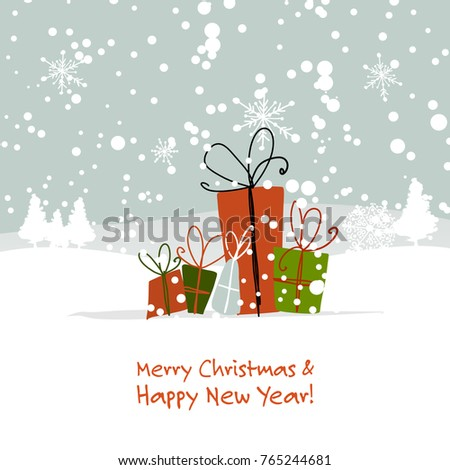 Christmas gifts, greeting card for your design. Vector illustration
