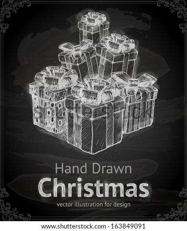 Christmas Gifts. Hand Drawn Vector. Chalkboard. Chalk Design. - stock vector