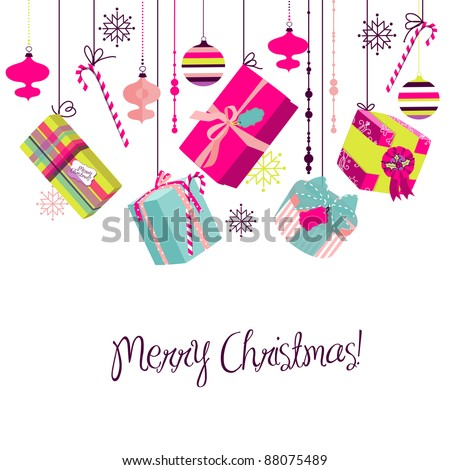 Christmas gifts in retro style. Ideas for creative packaging or bright christmas background - stock vector
