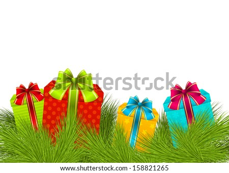 Christmas gifts on pine branches - stock vector