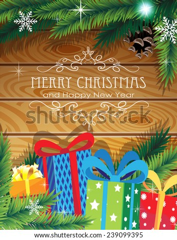 Christmas Gifts on wooden background with sparkling lights and fir branches - stock vector