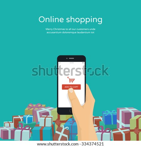 Christmas gifts online shopping. Man holding mobile phone with add to cart button,modern  flat design illustration. - stock vector