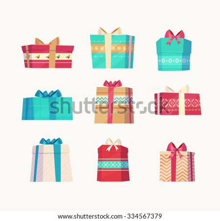 Christmas gifts set  on white background. Christmas card poster banner. Vector illustration. - stock vector
