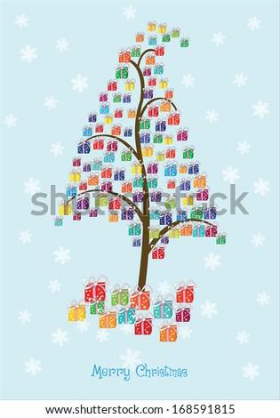 Christmas Gifts Tree - stock vector