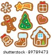 Christmas gingerbread collection 1 - vector illustration. - stock vector