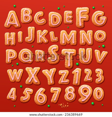 Christmas gingerbread cookies alphabet and numbers, vector illustration.  - stock vector