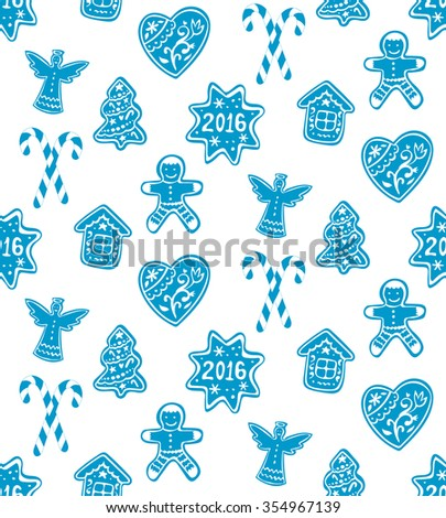 Christmas gingerbread, cookies decorated white icing and glass of milk. Vector hand drawn Seamless Pattern - stock vector