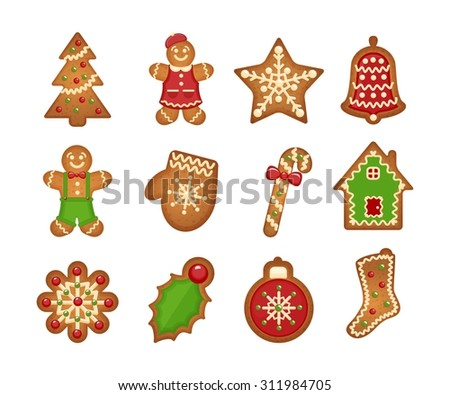 Christmas gingerbread cookies on white background. Christmas tree and star, bell and house - stock vector