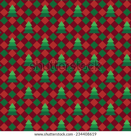 Christmas gingham or plaid fabric vector seamless pattern - stock vector