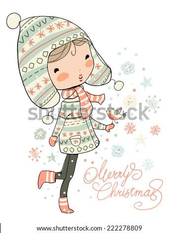 Christmas girl. Christmas and New year greeting card  - stock vector