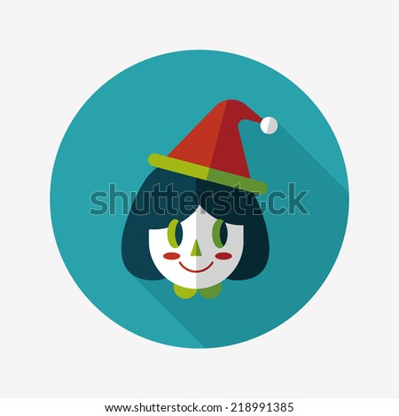 Christmas girl flat icon with long shadow,eps10