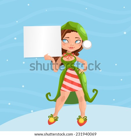 Christmas girl on colored background with a Christmas & New Year's banner for your text