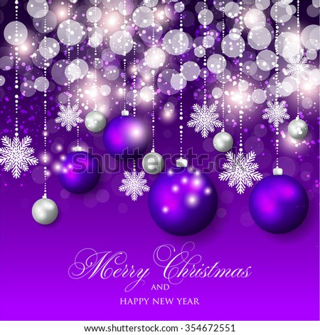 Christmas Glowing Lights. Merry Christmas and Happy New Year Card Xmas Decorations. Blur Silver Snowflakes. Vector.
