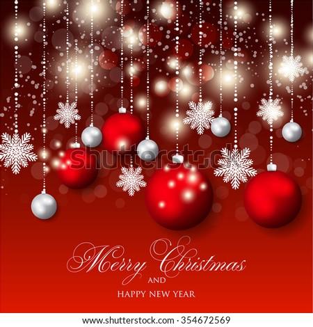 Red Decoration Fir Balls Winter Holiday Stock Vector ...