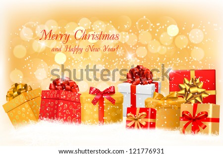 Christmas gold background with gift boxes and snowflake. Vector illustration. - stock vector