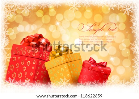 Christmas gold background with gift color boxes and snowflake. Vector illustration. - stock vector