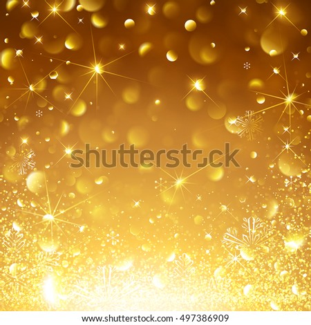 Christmas Gold Background with Snowflakes and Snow. Vector illustration