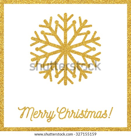 Christmas gold card - stock vector