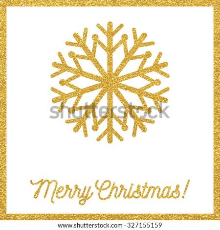 Christmas gold card - stock vector