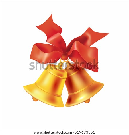 Christmas golden bells with red bow isolated on white. Vector illustration.