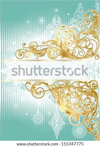 Christmas golden blue background - stock vector