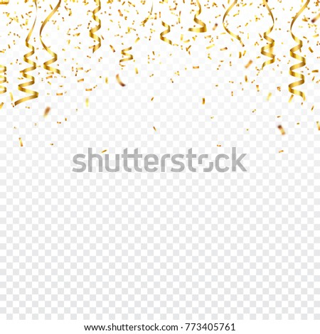 Christmas golden confetti with ribbon. Falling shiny confetti glitters in gold color. New year, birthday, valentines day design element. Holiday background.