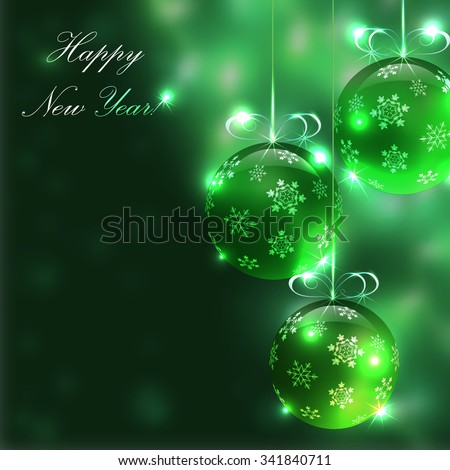 Christmas golden glass balls on the blurry background with lights, vector