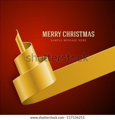 Christmas golden tree from ribbon background. Vector illustration Eps 10.  - stock vector