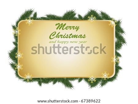 christmas grass gold card design - stock vector