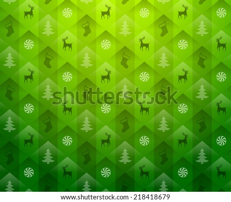Christmas green background. New Year green pattern with deers and christmas tree. Vector backdrop for new year's day, christmas, decoration, winter holiday, design, new year's eve, silvester, etc - stock vector