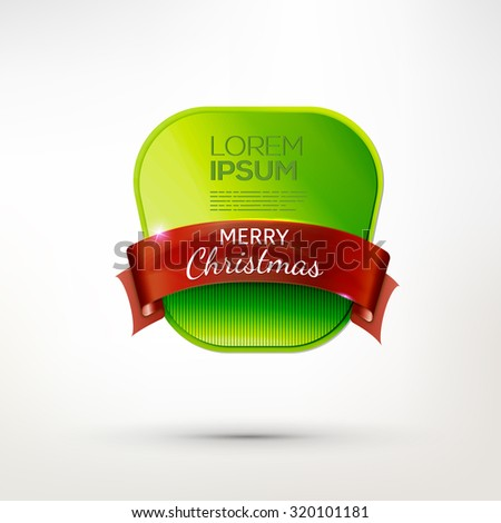Christmas green paper badge with red ribbon. Vector pin. Holidays banner.