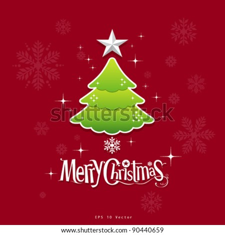 christmas green tree, star and text design illustration - stock vector