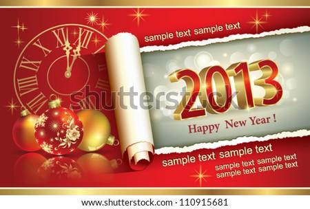 christmas greeting card 2013 - stock vector