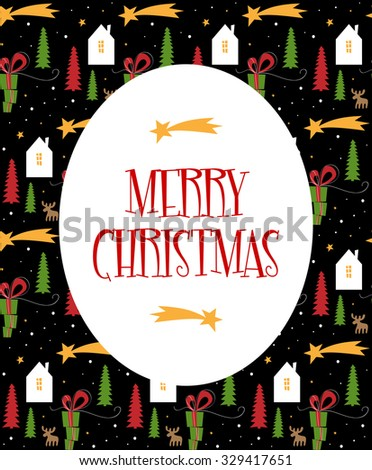 Christmas greeting card - stock vector