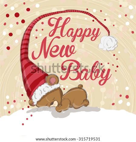 Christmas greeting card - Baby bear sleeping