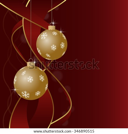 Christmas greeting card background - two gold Christmas baubles with white snowflakes and ribbons on a red background