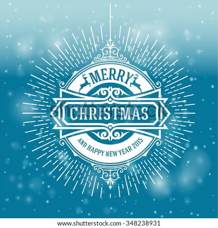 Christmas greeting card background. vintage ornament decoration with Merry Christmas holidays and Happy new year message. Vector illustration. - stock vector
