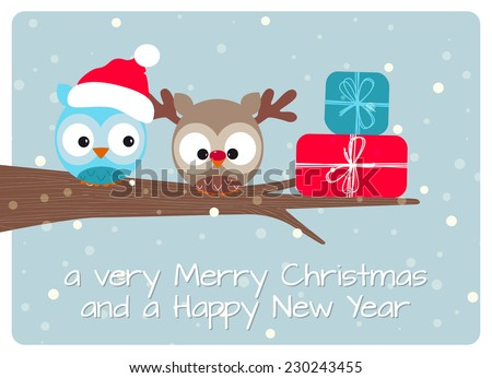 christmas greeting card, best wishes for a merry christmas and happy holidays with a delicious pair of owls in christmas version - stock vector
