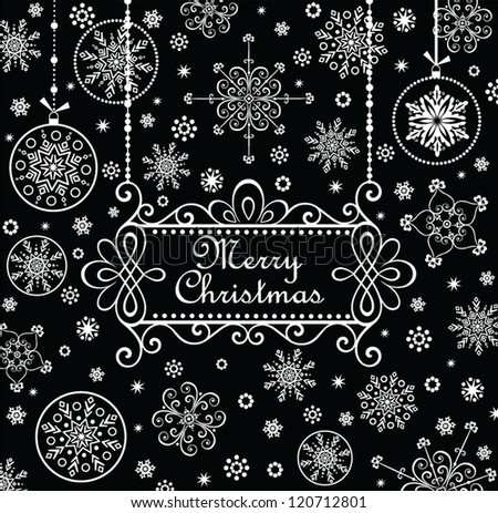 Christmas greeting card (black and white) - stock vector
